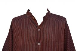 Light weight - Striped Cotton Shirt - Black and brick red