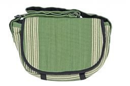 Satchel type - heavy cotton striped bag - green