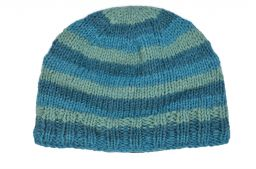 Children's Half fleece lined - stripe - beanie - Aqua