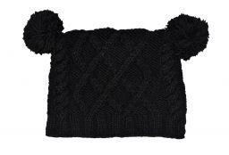 Square cable pom pom hat - hand knitted - pure wool - fleece lining - black