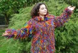 Fleece lined - shaggy  jacket - Rainbow