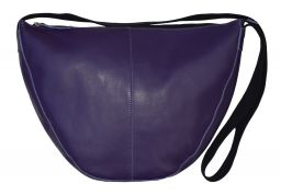 Leather Slouch Bag - Large - Purple