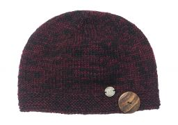 Pure wool - half fleece lined - big button - cloche - Blackberry