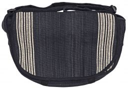 Satchel type - heavy cotton striped bag - black