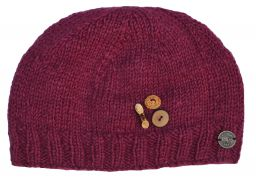 Pure wool - half fleece lined - fruit button beanie - Berry