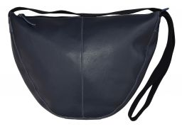 Leather Slouch Bag - Large - Navy
