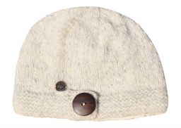 Pure wool - fine wool mix - big button cloche - White