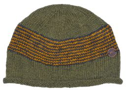 Thin stripes beanie - pure wool - fleece lined - green