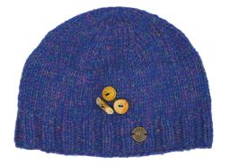 Fruit button beanie - pure wool - fleece lined - blue heather