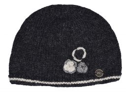 Half fleece lined - three flower beanie - pure wool - Charcoal