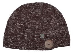 Pure wool - fine wool mix - big button cloche - chestnut