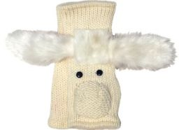 Fleece lined wristwarmer - White dog