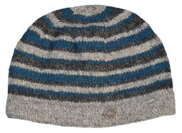 NAYA pure wool - random stripe beanie - natural/teal