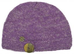 Pure wool - half fleece lined - big button cloche - Violet