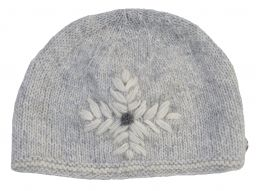 fine wool mix - embroidered beanie - Sea Spray