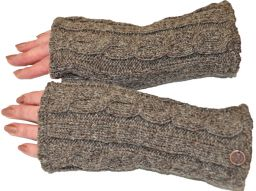 Fleece lined wristwarmer - cable - natural brown