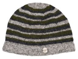 NAYA pure wool - random stripe beanie - natural/green