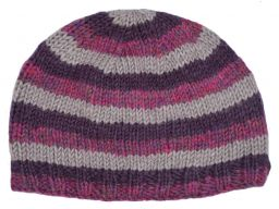 Children's Half fleece lined - stripe - beanie - Pink heather stripe