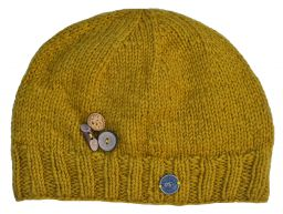 Fruit button beanie - pure wool - fleece lined - mustard