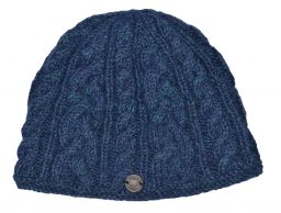 fine wool mix - cable beanie - Blue