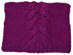 Children's fleece lined - square cable - Magenta