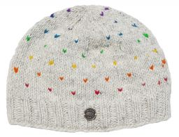 Half fleece lined - rainbow tick beanie - Pale Grey