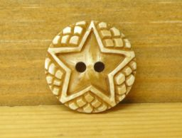 Hand carved - Round Button - Star