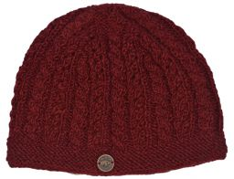 Lace cable beanie - hand knitted - pure wool - mahogany