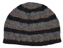 Children's Half fleece lined - stripe - beanie - naturals