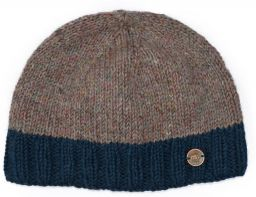 Pale Heather mix - contrast edge beanie - Blue/teal border