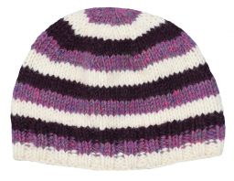 Children's Half fleece lined - stripe - beanie - Purple and white