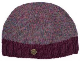 Half fleece lined - Heather mix - contrast edge - beanie - deep berry border