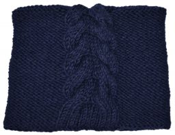 Children's fleece lined - square cable - blue