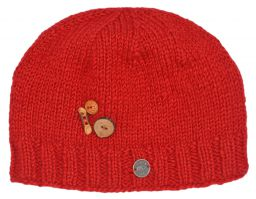 Fruit button beanie - pure wool - fleece lined - red