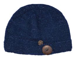 Pure wool - fine wool mix - big button cloche - blue