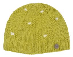 Moss stitch bow beanie - pure wool - fleece lined - pale green
