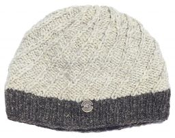 Pure wool - half fleece lined - border beanie - Pale Grey/Brown