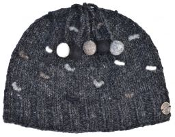 Half fleece lined - pure wool - french knot beanie - Charcoal