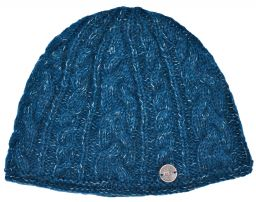 fine wool mix - cable beanie - Teal blue