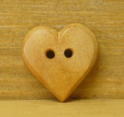 Wood carved - honey coloured Heart - Button