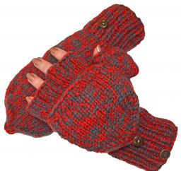 two tone mitt - Bright red/smoke