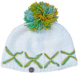 Criss cross bobble - hand knitted - cream / green