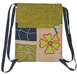 Hand embroidered - heavy cotton duffle bag - green/camel