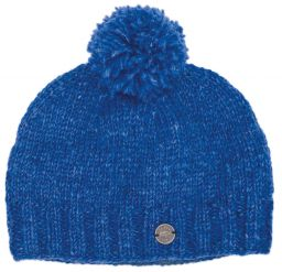 Classic bobble hat - hand knitted - fleece lining - blue pepper