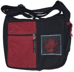Embroidered Tree of life - medium bag - black/red