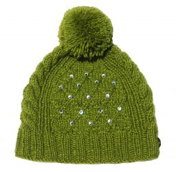 Trellis sparkle bobble hat - hand knitted - fleece lining - green
