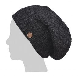 half fleece lined - basket weave slouch - Charcoal