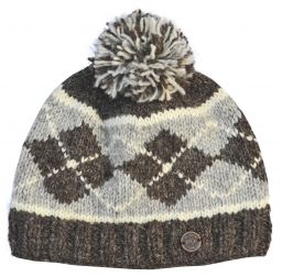 Half fleece lined - Highland bobble hat - Brown/mid grey