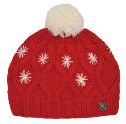 pure wool - diamond cable bobble hat - Red/White