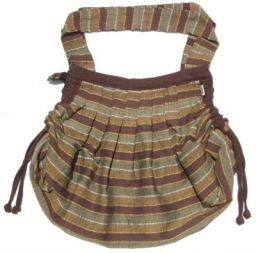 Brown - Striped -  Expandable Cotton Bag